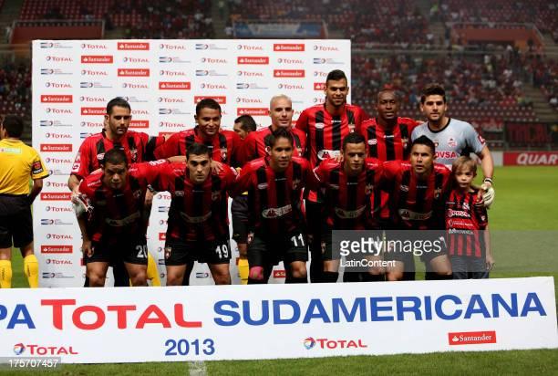 Players of Deportivo Lara pose before a match between Deportivo Lara and Liga de Loja as part of the Copa Total Sudamericana at Cabudare Metropolitan...