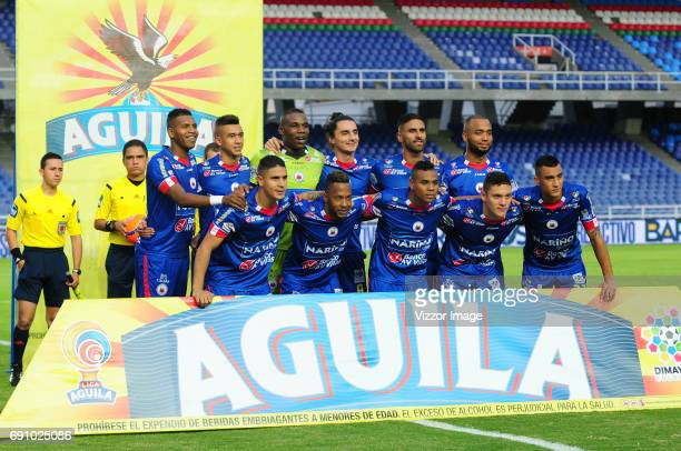 Players of Deportivo Pasto pose for a photo prior to a match between America de Cali and Deportivo Pasto as part of Liga Aguila I 2017 at Pascual...