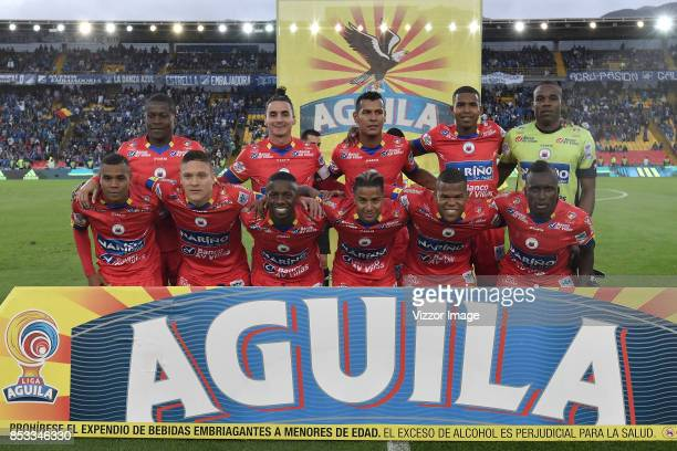Players of Deportivo Pasto pose for a team photo prior to a match between Millonarios and Deportivo Pasto as part of Liga Aguila II at the Nemesio...