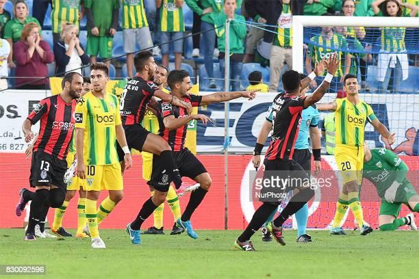 Players of Deportivo Tondela celebrate a goa during Primeira Liga match between Feirense vs Tondela at Estádio Marcolino de Castro Santa Maria da...