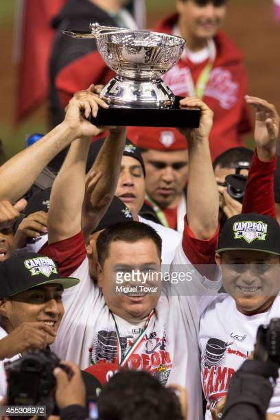 Players of Diablos celebrate the championship after the final final match against Pericos de Puebla as part of Serie del Rey Mexican Baseball League...