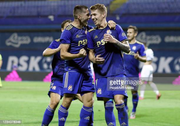 Players of Dinamo Zagreb celebrate a goal during the UEFA Champions League Second Qualifying Round match between GNK Dinamo Zagreb and Omonoia at...