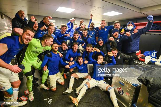 Players of Dinamo Zagreb celebrate in the locker room after winning the UEFA Europa League Group K stage match between Feyenoord and Dinamo Zagreb at...