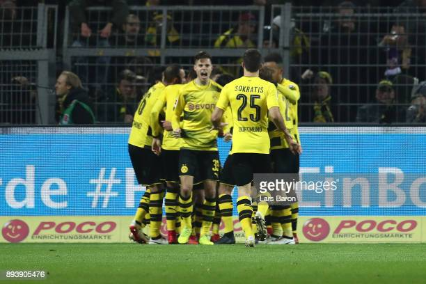 Players of Dortmund celebrate after Christian Pulisic of Dortmund scored a goal to make it 21 during the Bundesliga match between Borussia Dortmund...