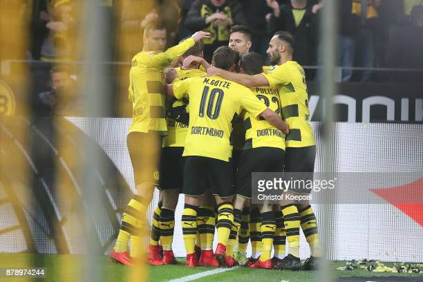 Players of Dortmund celebrate after PierreEmerick Aubameyang of Dortmund scored his teams first goal to make it 10 during the Bundesliga match...