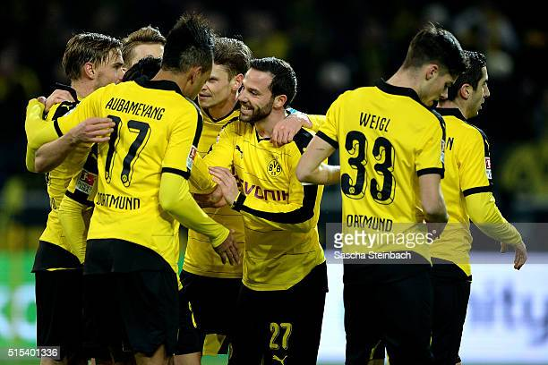 Players of Dortmund celebrate after scoring the second goal during the Bundesliga match between Borussia Dortmund and 1 FSV Mainz 05 at Signal Iduna...