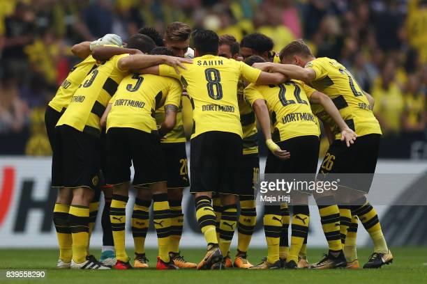Players of Dortmund gather ahead of the Bundesliga match between Borussia Dortmund and Hertha BSC at Signal Iduna Park on August 26 2017 in Dortmund...