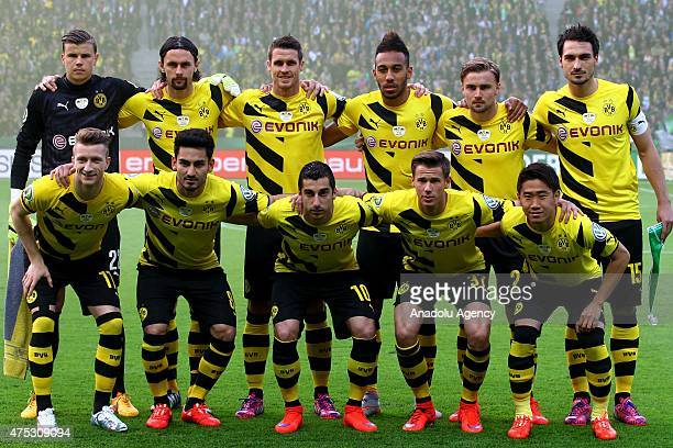 Players of Dortmund pose for a photo ahead of the DFB Cup Final match between Borussia Dortmund and VfL Wolfsburg at Olympiastadion on May 30 2015 in...