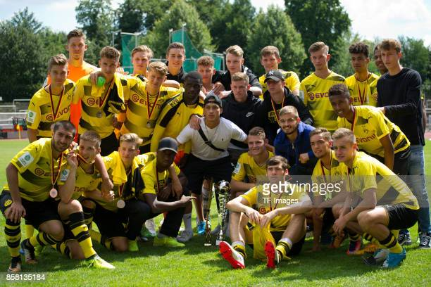 Players of Dortmund U19 are seen during the EMKA RUHRCup International Final match between Borussia Dortmund U19 and Real Madrid U19 at Stadion Rote...