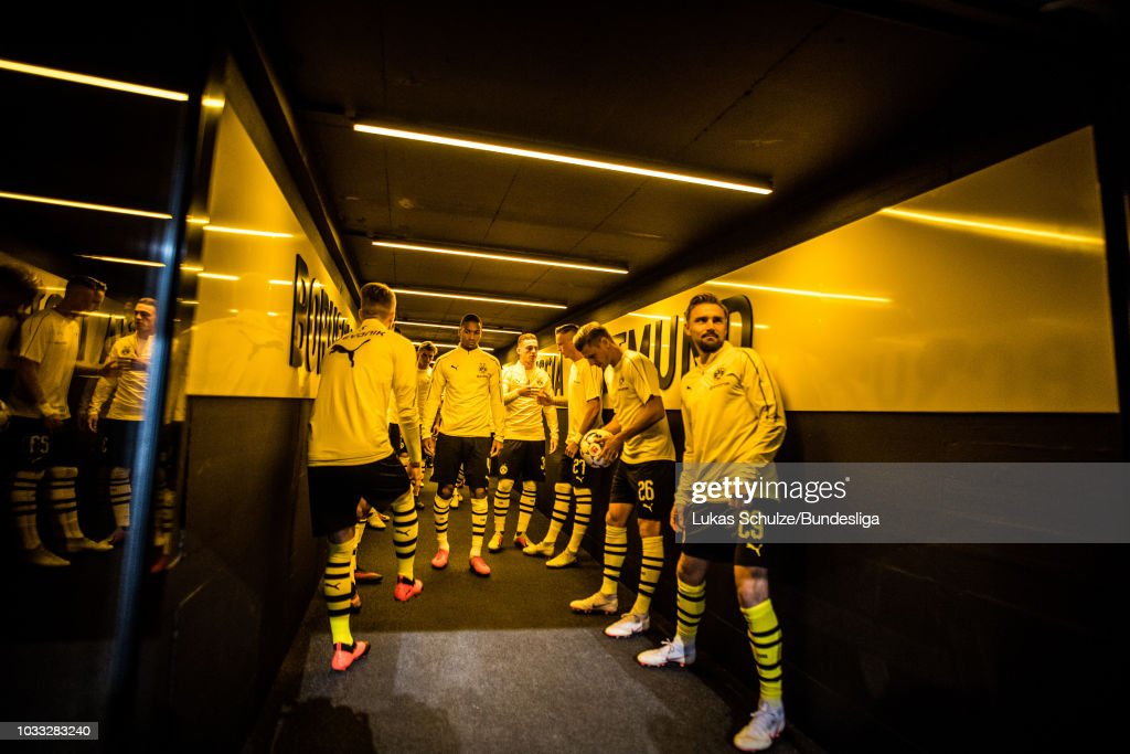 Players of Dortmund waiting in the players tunnel for the warm up prior to the Bundesliga match between Borussia Dortmund and Eintracht Frankfurt at Signal Iduna Park on September 14, 2018 in Dortmund, Germany.