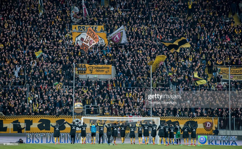 Players of Dresden celebrate with the fans after the Second Bundesliga match between SG Dynamo Dresden and SSV Jahn Regensburg at DDV-Stadion on February 18, 2018 in Dresden, Germany.
