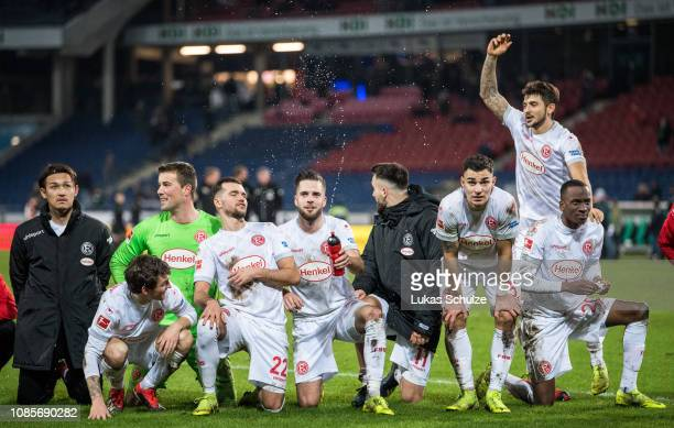 Players of Duesseldorf celebrate after winning the Bundesliga match between Hannover 96 and Fortuna Duesseldorf at HDIArena on December 22 2018 in...