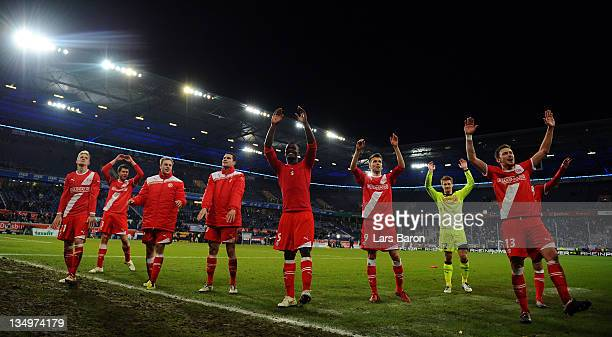 Players of Duesseldorf celebrate after winning the Second Bundesliga match between MSV Duisburg and Fortuna Duesseldorf at Schauinsland Reisen Arena...