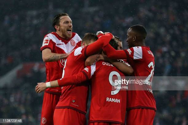 Players of Duesseldorf celebrate the 3rd team goal during the Bundesliga match between Fortuna Duesseldorf and VfB Stuttgart at EspritArena on...