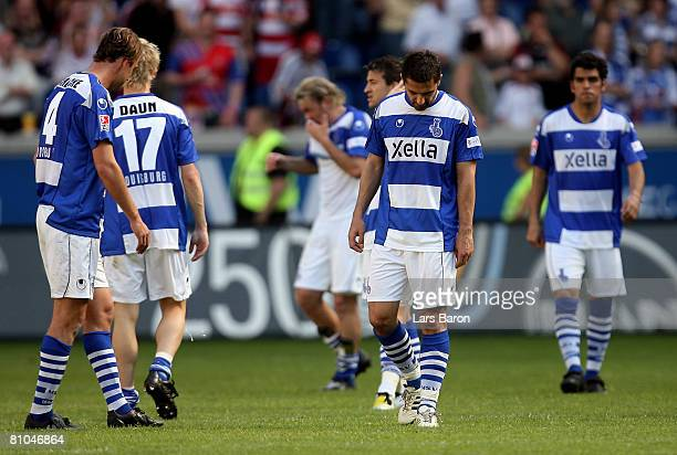 Players of Duisburg are looking dejected after loosing the Bundesliga match between MSV Duisburg and Bayern Munich at the MSV Arena on May 10 2008 in...