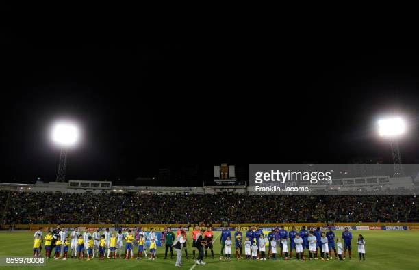 Players of Ecuador and Argentina pose prior a match between Ecuador and Argentina as part of FIFA 2018 World Cup Qualifiers at Olimpico Atahualpa...