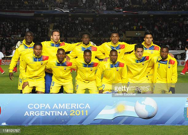 Players of Ecuador pose for a team photo during a match as part of group B of 2011 Copa America at Brigadier Lopez Stadium on July 3 2011 in Santa Fe...