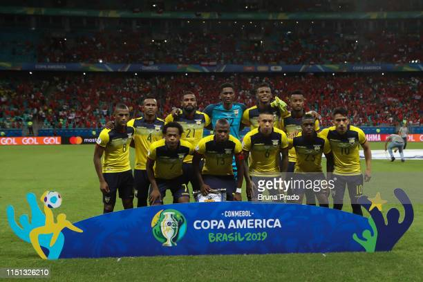 Players of Ecuador pose for photographers prior the Copa America Brazil 2019 group C match between Ecuador and Chile at Arena Fonte Nova on June 21,...