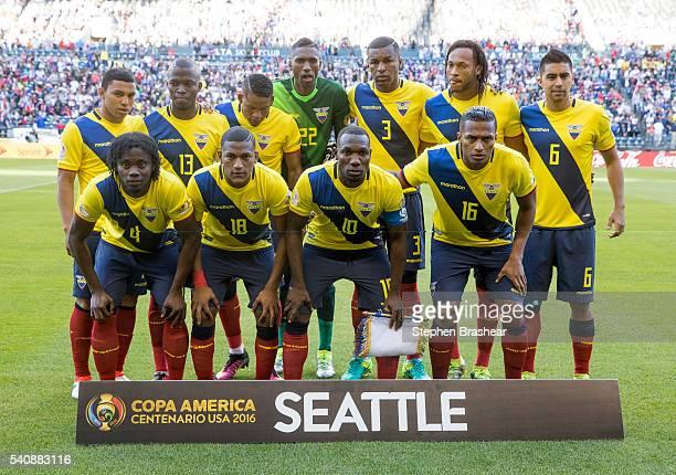 Players of Ecuador pose prior a Quarterfinal match between USA and Ecuador at CenturyLink Field as part of Copa America Centenario US 2016 on June 16...