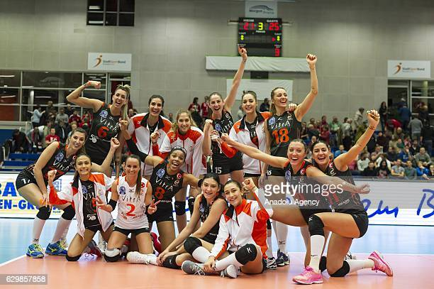 Players of Eczacibasi VitrA celebrate after winning the Volleyball European Champions League Group D match between Dresdner SC and Eczacibasi VitrA...