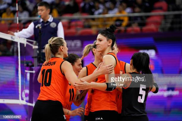 Players of Eczacibasi Vitra Istanbul celebrates during 2018 FIVB Women's Club World Championship Praia v Eczasibazi at Olympic Sports Center on...