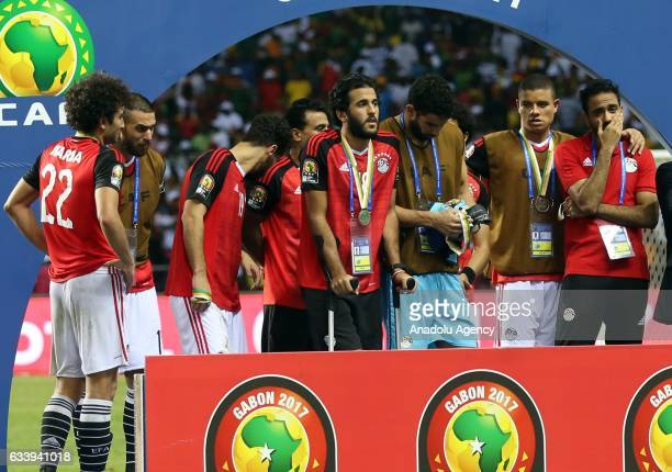 Players of Egypt are seen during the awards ceremony after the final match between Cameroon and Egypt of 2017 Africa Cup of Nations at the d'Angondje...