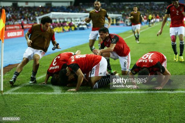 Players of Egypt celebrate after scoring a goal during the 2017 Africa Cup of Nations final football match between Egypt and Cameroon at the...