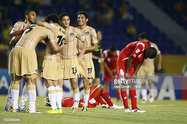 Players of Egypt celebrate as Francisco Vence of Panama reacts after the FIFA U20 World Cup Group E match between Egypt and Panama at Estadio...