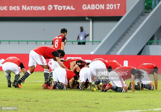 Players of Egypt celebrate the goal of Mohamed Salah during the African Cup of Nations 2017 Group D football match between Ghana and Egypt in...