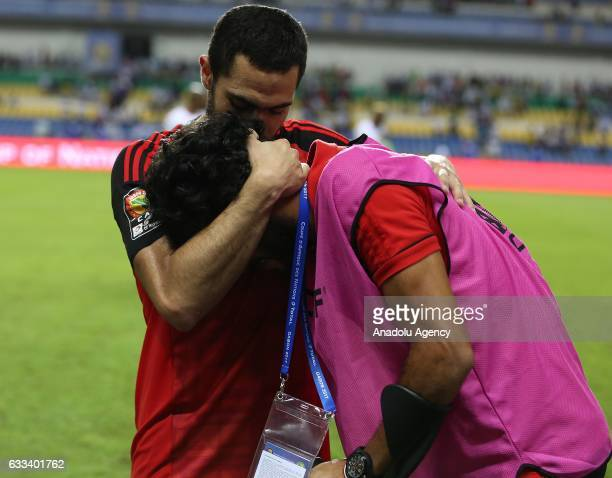 Players of Egypt celebrate winning the 2017 Africa Cup of Nations semifinal football match between Burkina Faso and Egypt at the Stade de l'Amitie...