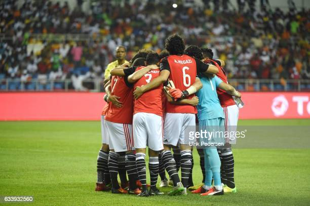 Players of Egypt during the African Nations Cup Final match between Cameroon and Egypt at Stade de L'Amitie on February 5 2017 in Libreville Gabon