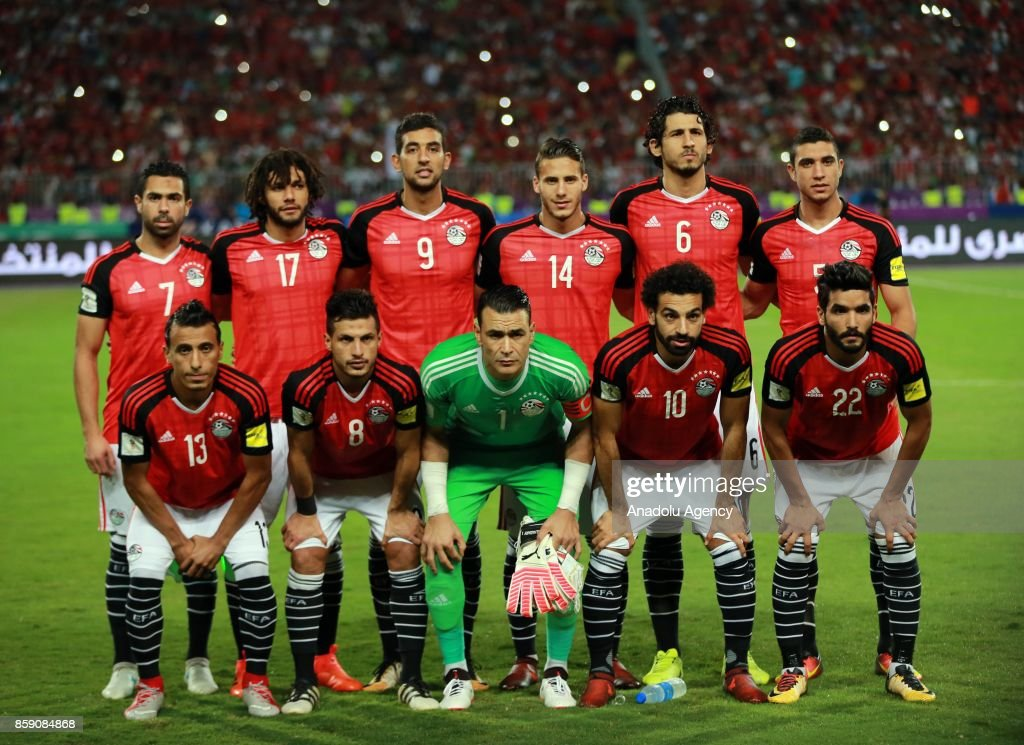 Players of Egypt national team pose for a team photo ahead of the 2018 World Cup Africa Qualifying match between Egypt and Congo at the Borg el-Arab Stadium in Alexandria, Egypt on October 8, 2017.