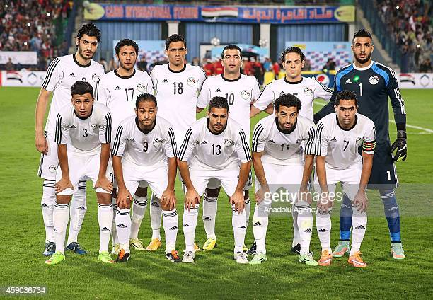 Players of Egypt pose before the Africa Cup of Nations qualification group G match between Egypt and Senegal at International Cairo Stadium in Cairo...