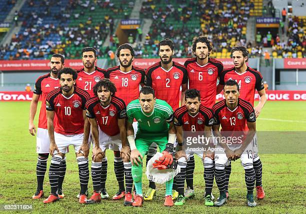 Players of Egypt pose for a photo prior to the African Cup of Nations 2017 Group D football match between Egypt and Uganda at PortGentil Stadium in...