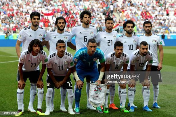 Players of Egypt pose for a team photo ahead of the 2018 FIFA World Cup Russia Group A match between Saudi Arabia and Egypt at the Volgograd Arena in...