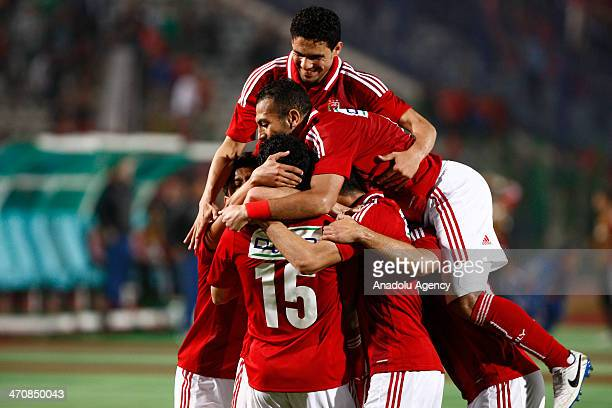 Players of Egypt's AlAhly celebrates after scoring a goal during the CAF Super Cup final football match between Tunisia's Sfaxien and Egypt's AlAhly...