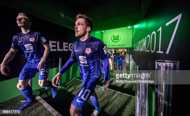Players of Eintracht Braunschweig enter the pitch for the second half during the Bundesliga Playoff Leg 1 match between VfL Wolfsburg and Eintracht...