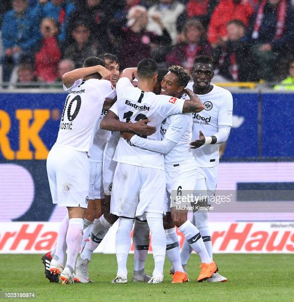 Players of Eintracht Frankfurt celebrates second goal during the Bundesliga match between Sport Club Freiburg and Eintracht Frankfurt at...