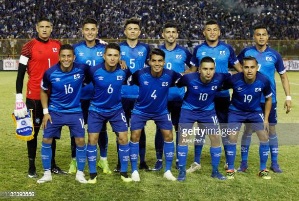 Players of El Salvador pose for photos prior a match between El Salvador and Jamiaca as part of the CONCACAF Gold Cup 2019 Qualifiers at Cuscatlan...