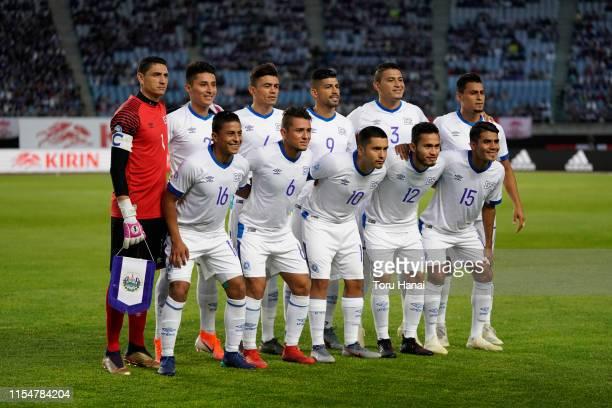 Players of El Salvador pose for photos prior to the international friendly match between Japan and El Salvador at Hitomebore Stadium Miyagi on June...