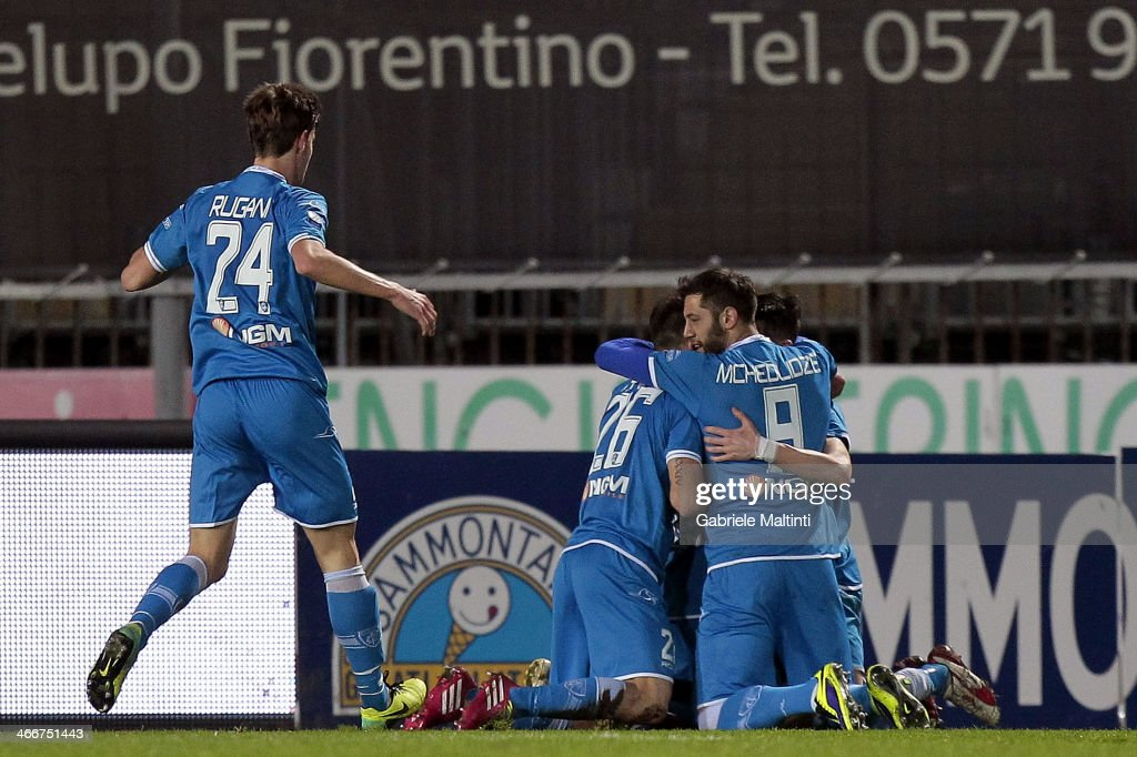 Players of Empoli FC celebrates after scoring a goal Francesco Tavano during the Serie B match between Empoli FC and US Citta di Palermo at Stadio Carlo Castellani on February 3, 2014 in Empoli, Italy.