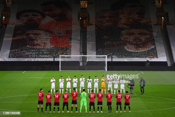 Players of England and Albania participate in a minute of applauds in memory of the former England player Ray Clemence prior to the UEFA Euro Under...