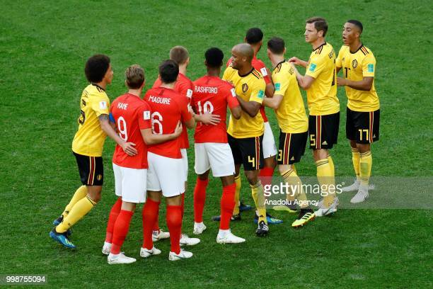 Players of England and Belgium wait to rise for the ball before the corner kick, during the 2018 FIFA World Cup 3rd place match between Belgium and...