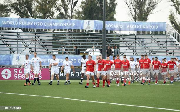 Players of England and Wales gets into the pitch before a Fifth place playoff match between England U20 and Wales U20 as part of World Rugby U20...
