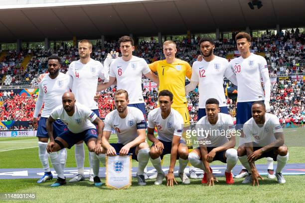 Players of England are seen prior to the UEFA Nations League Third Place Playoff match between Switzerland and England at Estadio D Afonso Henriques...