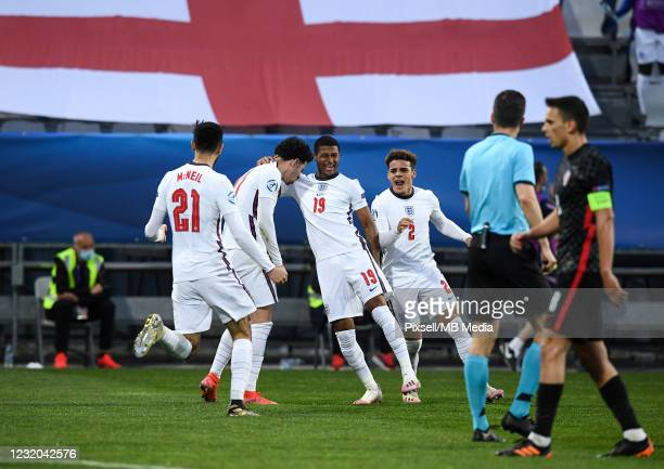 Players of England celebrate after scoring second goal during the 2021 UEFA European Under-21 Championship Group D match between Croatia and England...