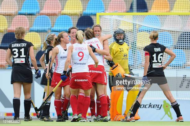 Players of England celebrate after scoring their team's opening goal during the Women´s EuroHockey Championships 2011 Pool B match between England...