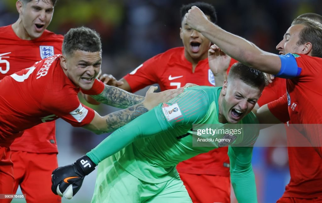 Players of England celebrate after the 2018 FIFA World Cup Russia Round of 16 match between Colombia and England at the Spartak Stadium in Moscow, Russia on July 03, 2018. England move to quarterfinals on penalties.