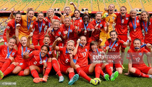 Players of England celebrate after winning the FIFA Women's World Cup 2015 Third Place Playoff match between Germany and England at Commonwealth...