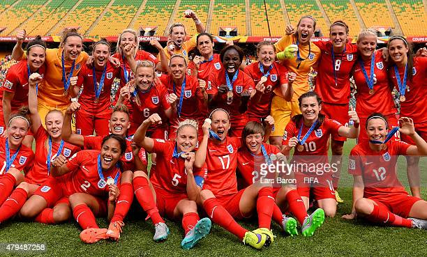 Players of England celebrate after winning the FIFA Women's World Cup 2015 Third Place Play-off match between Germany and England at Commonwealth...